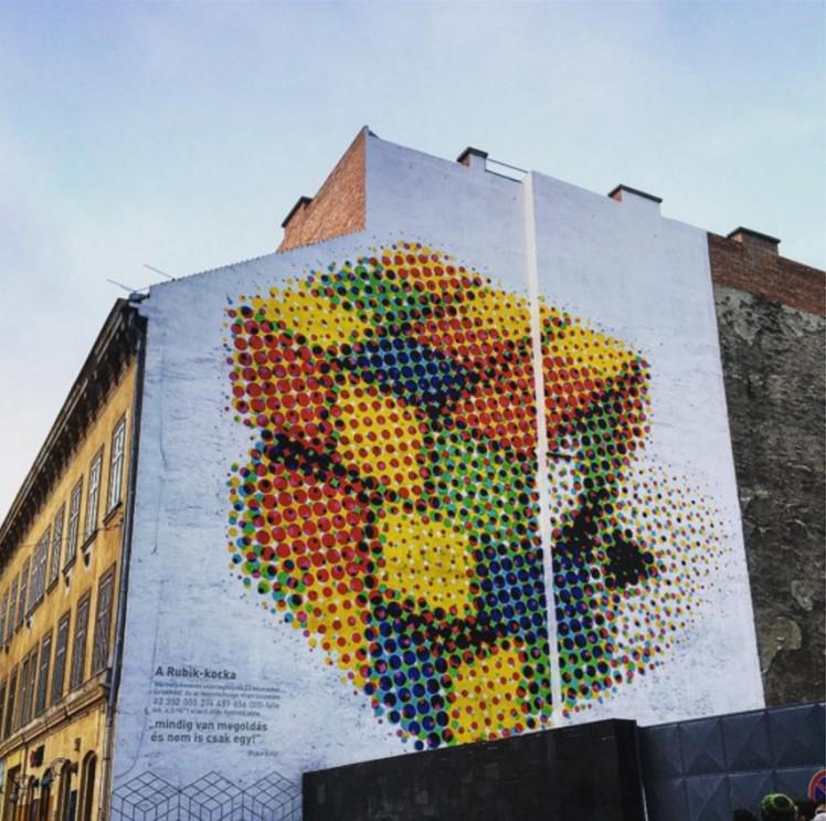 Rubik's Cube Street Art - Budapest