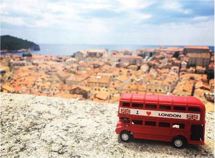London Bus on the Old Town Wall, Dubrovnik