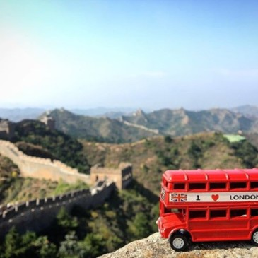 The Red bus on the Great Wall of China